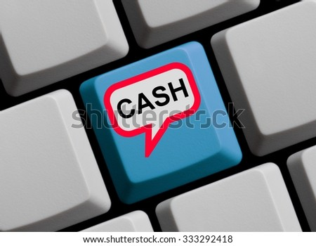 Red Computer Keyboard with speech bubble showing Cash