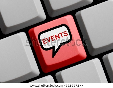 Red Computer Keyboard with speech bubble showing Events