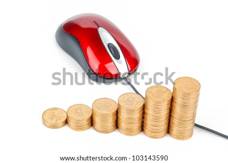 Red computer mouse and golden coin - stock photo