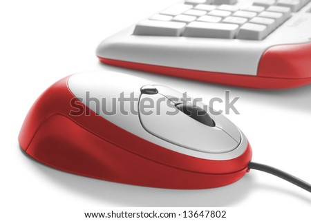 red computer mouse and keyboard - stock photo