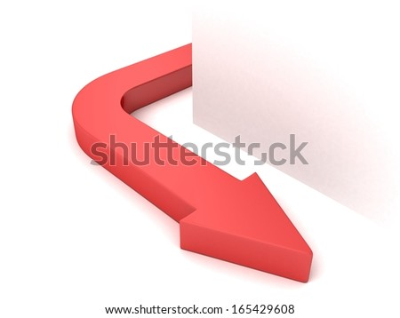 red concept arrow curved from white corner