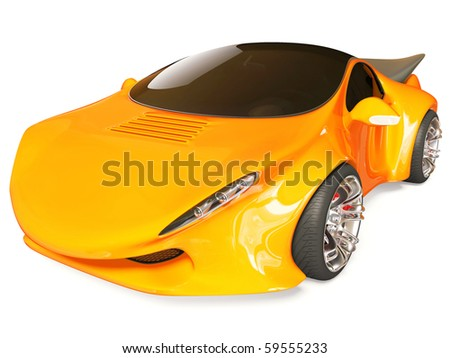 red concept car on white background isolated - stock photo