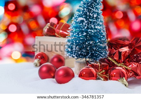 Red concept for Christmas background with decoration on Snow