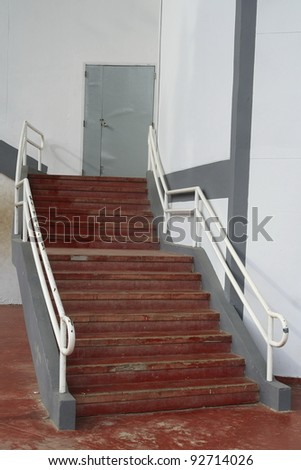 red concrete stair - stock photo