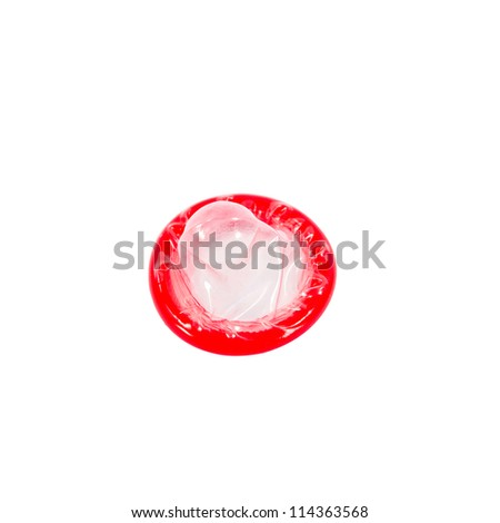 Red condom isolated on white background with clipping path - stock photo