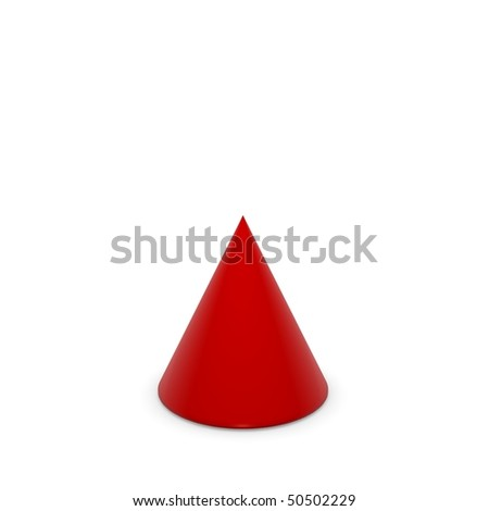 red cone on white background - stock photo