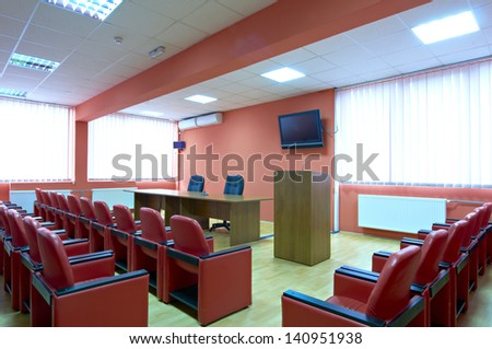 red conference room - stock photo
