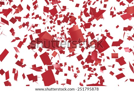 Red confettei on white background. Slight motion blur. no depth. - stock photo