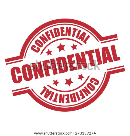 Red Confidential Stamp, Badge, Label, Sticker or Icon Isolated on White Background - stock photo