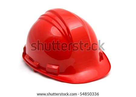 Red construction helmet shot isolated on white - stock photo
