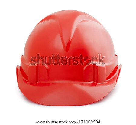 Red constuction safety helmet isolated on white - stock photo