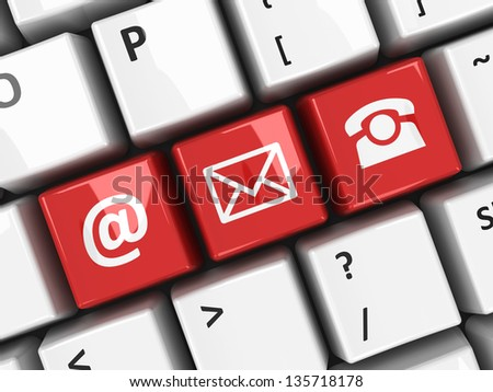 Red contact keys on the computer keyboard, three-dimensional rendering - stock photo