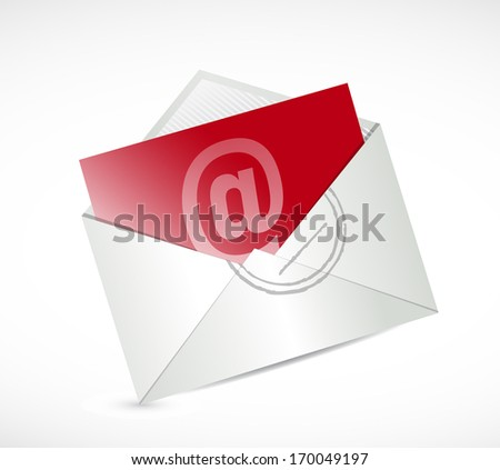 red contact us mail illustration design over a white background