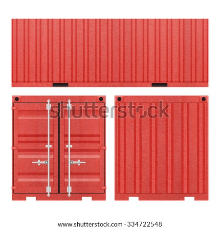 Red Container for Shipping on a White Background - stock photo