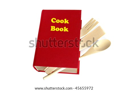 Red cook book isolated on white - stock photo