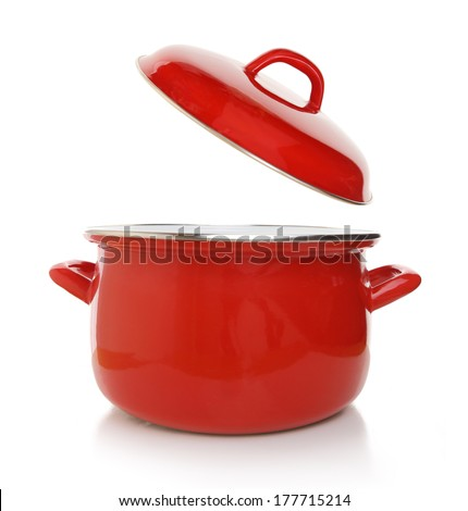 Red cooking pot isolated on white background - stock photo