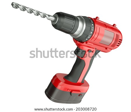 Red cordless drill isolated on a white background. 3D render - stock photo