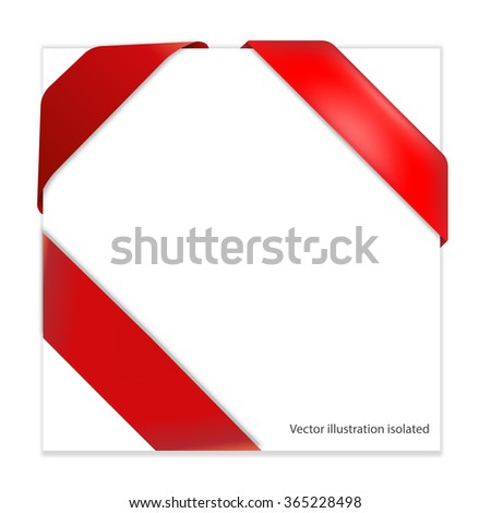 Red corner ribbon - stock photo