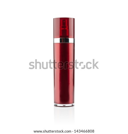 Red cosmetic can of moisturizer isolated on white - stock photo
