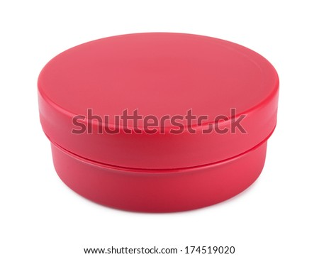 Red cosmetic jar on a white background - stock photo