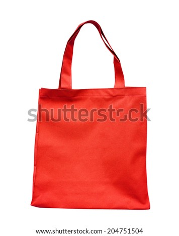 red  cotton bag - stock photo