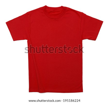 Red Cotton Shirt with Copy Space Isolated on White Background. - stock photo