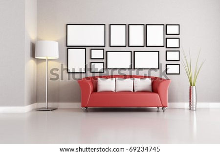 Red Couch In A Minimalist Living Room   Rendering Part 91