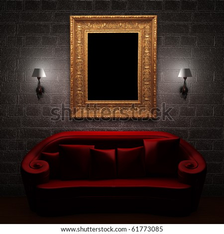 Red couch with empty frame and sconces in minimalist interior - stock photo