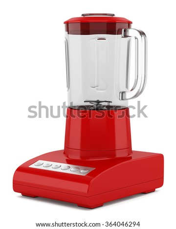 red countertop blender isolated on white background - stock photo