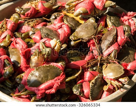 Red crab on Seafood market - stock photo