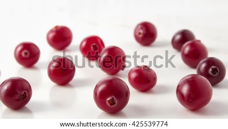 Red cranberries close-up shot with small depth of field - stock photo