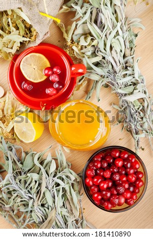 red cranberries, jar with honey, fruit tea cup, healing herbs and lemon on table, top view - stock photo
