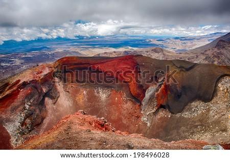 Red Crater on the top of Tongariro Volcano, Tongariro Crossing National Park - New Zealand - stock photo