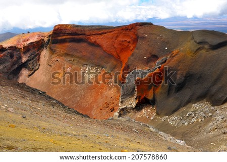 Red Crater on the top of Tongariro Volcano, Tongariro Crossing National Park - New Zealand - stock photo