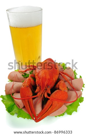 Red crayfish and goblet of beer. White background. Isolated. With shade. - stock photo