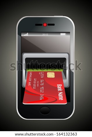 Red Credit Card and modern mobile phone