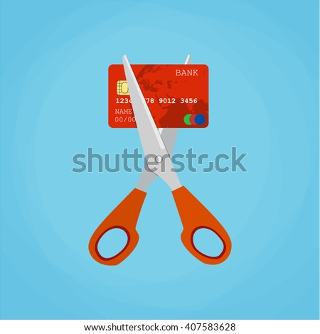 Red credit card cutting by the scissors. Illustration suitable for advertising and promotion Raster version - stock photo