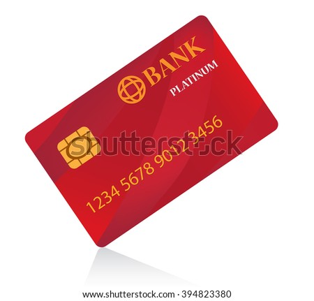 Red Credit Card  isolated on white background