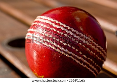 Red cricket ball - stock photo