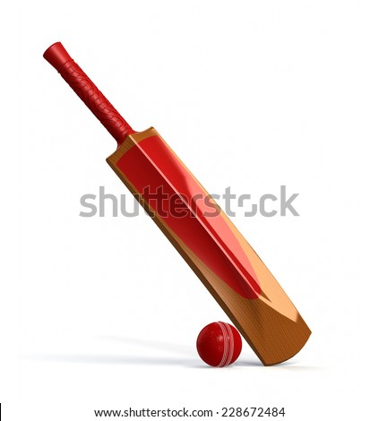 red cricket ball and wooden bat isolated on white. 3D render - stock photo