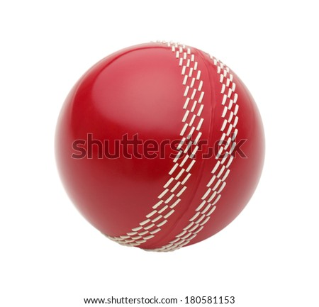 Red Cricket Ball Isolated on White Background.