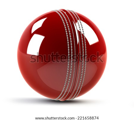 red cricket ball isolated on white background - stock photo