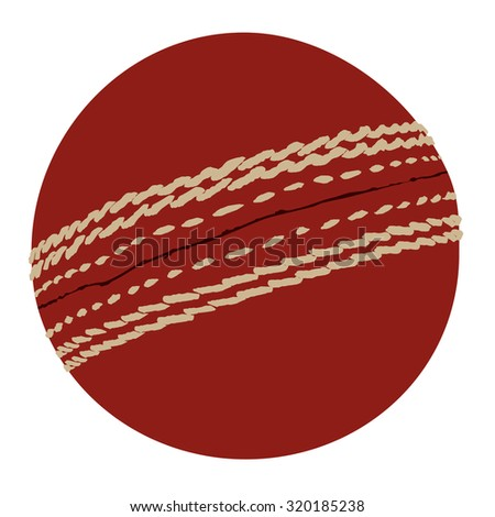 Red cricket ball raster isolated icon, traditional sport, equipment