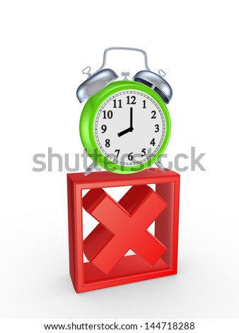 Red cross mark and green watch.Isolated on white.3d rendered. - stock photo