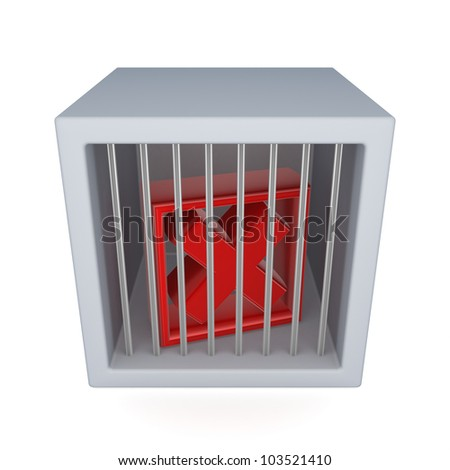 Red cross mark in a jail.Isolated on white background.3d rendered. - stock photo