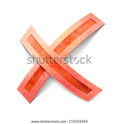Red cross mark. Isolated paper cut illustration - stock photo