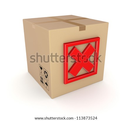 Red cross mark on carton box.Isolated on white background.3d rendered. - stock photo