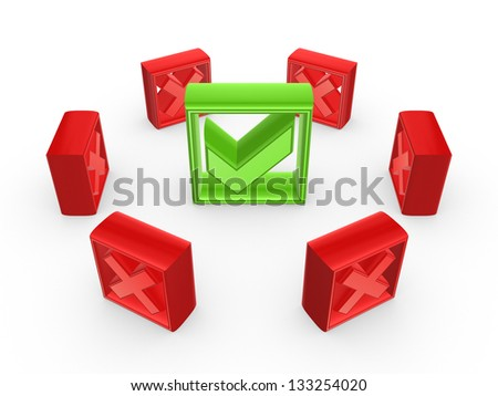 Red cross marks around green tick mark.Isolated on white background. - stock photo