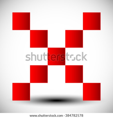Red cross sign, X letter, X shape. - stock photo
