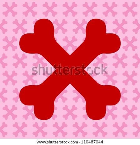 Red Crossbones - stock photo